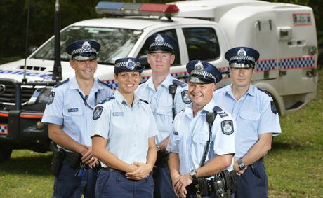 ***TBC: ANDREW CONWAY SUITABLE FOR PUBLICATION*** Police Officer of the Year candidates (at back, from left) Constables Russell Taylor, Andrew Conway and Nick Tanner, (at front) Constable Simone Beckett and Senior Constable Tim Stephens get set for a gala awards night on March 1. Photo: Claudia Baxter / The Queensland Times