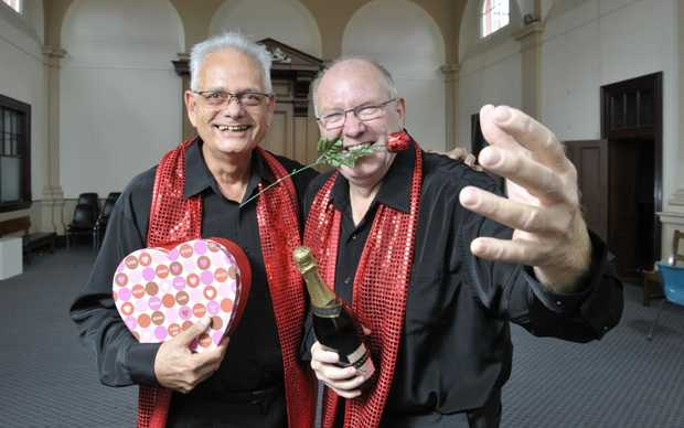 Chris Toussaint and Howard Kennedy from the Miner Chords are promoting their Valentines Day concert aimed at raising money for the flood appeal. Photo: Rob Williams / The Queensland Times