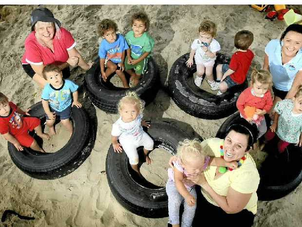 Twins Harrison and Lewis Bottle, Khade and Khash Smallwood, Ava and Tully-Rose Torrens, Sam and Pippa Cook and Violet and Winter Pettinari with teachers Lisa Smith, Kylie Williams and Cassie Tuck at Goodstart Early Learning in Tweed Heads.