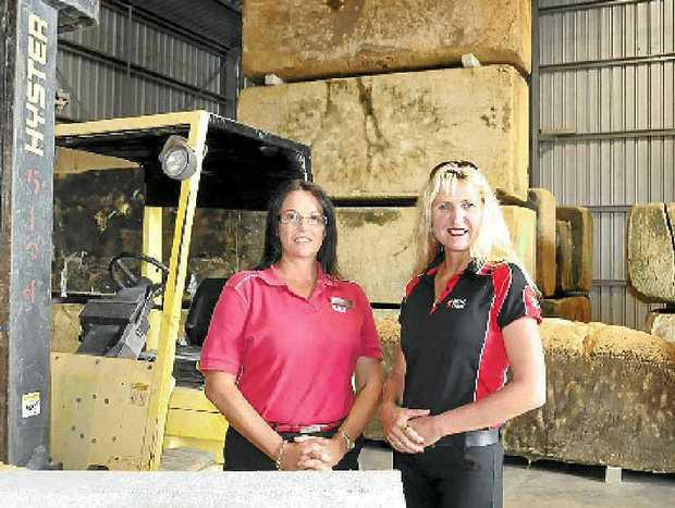 Westpac's Julie Brook talks business with Gympie businesswoman Karra Corbett.