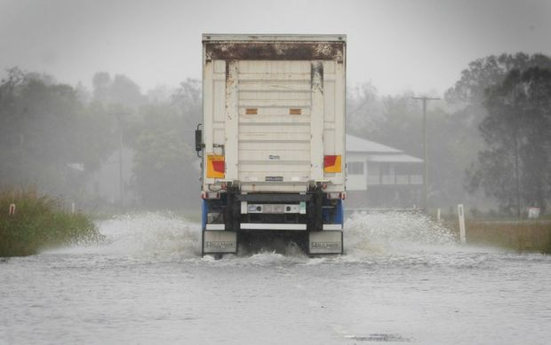 Tweed Valley way cut off near the pacific motorway turn off. A truck goes through anyway. Photo Blainey Woodham / Daily News