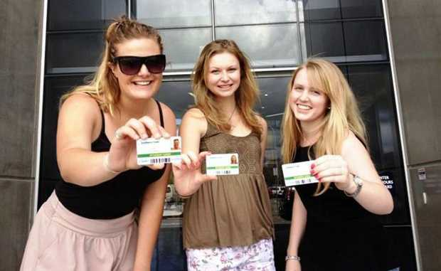 Kate Fetterplace, Claire Lusted, Brooklyn Cooper at Orientation Week at Southern Cross University.