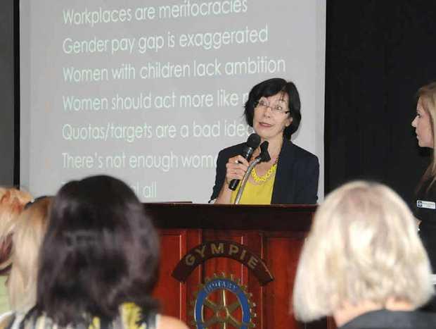 Guest speaker Catherine Fox addresses a breakfast meeting in Gympie yesterday.