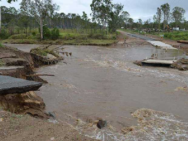WASHED OUT: Ivory Creek Rd in Toogoolawah shows the power of destructive water.