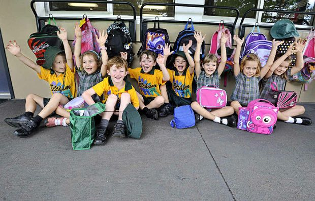 PICTURED ABOVE: Eltham Public School kindergarten enjoying the start to school. From left are, Riley Cooper, 5, Jade McCarthy-Bache, 5, Will Davies, 5, Marcus Cooke, 4, Wiley Mitchelson-Strong, 5, Laura Masman, 5, Hannah Johnstone, 5, and Carrie Smith, 5.