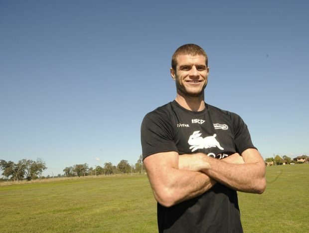 NRL player and former Kangaroo Matt King watches local junior rugby league players taking part in the second annaul Matt King Shield at Casino on Friday. Photo Doug Eaton / Richmond River Express Examiner