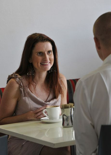 Christie McCabe and Steven Gill speed dating at Metro Cafe.