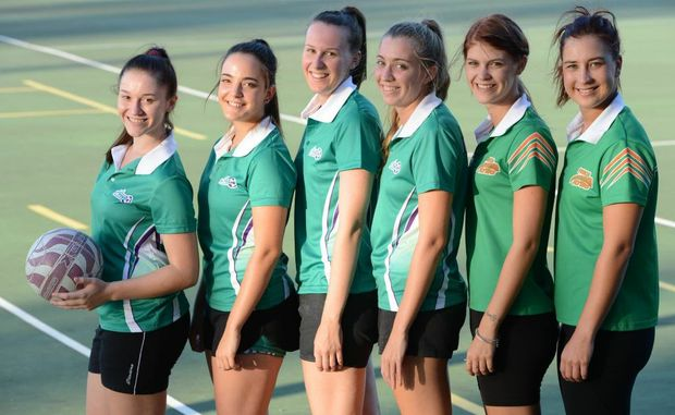 Ipswich netball has graded it's u16s, u19s and open netball teams. U16s Georgia Spark and Kate Spain-Mostina, u19s Emily O'Connor and Melissa Pedley and flyers players Tara Bramwell and Stephanie Lee. Photo: Sarah Harvey / The Queensland Times