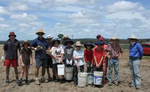 Parents and children from St Therese's School Monto lend a hand at the Dowlings.