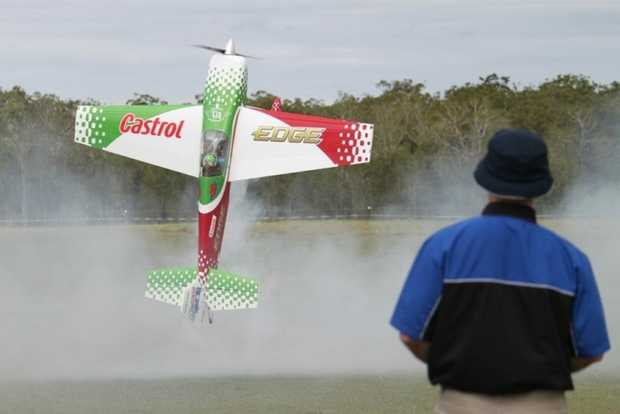 Darling Downs Aeromodelling Club member Luke Cullen takes his model aeroplane for a spin.