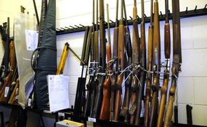 The cache of firearms at Toowoomba police station.