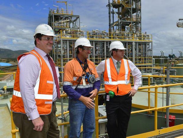 Resources Minister Andrew Cripps, QER operations supervisor Ray Pascoe and Environment Minister Andrew Powell at the QER facility in Yarwun, Gladstone.
