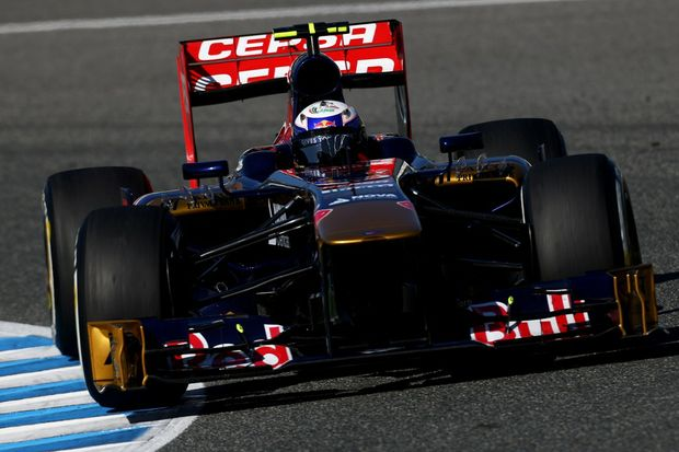 Daniel Ricciardo of Australia and Scuderia Toro Rosso drives during Formula One winter testing at Circuito de Jerez on February 6, 2013 in Jerez de la Frontera, Spain.