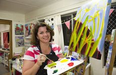 Anna Bartlett leads the Paint Along class at her studio at Mt Kynoch.