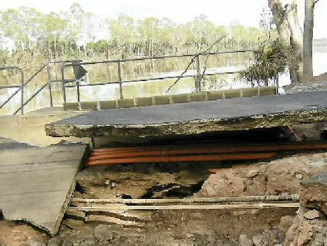 FLOOD DAMAGE: Exposed high-voltage conduits at the Woongarra pump station.