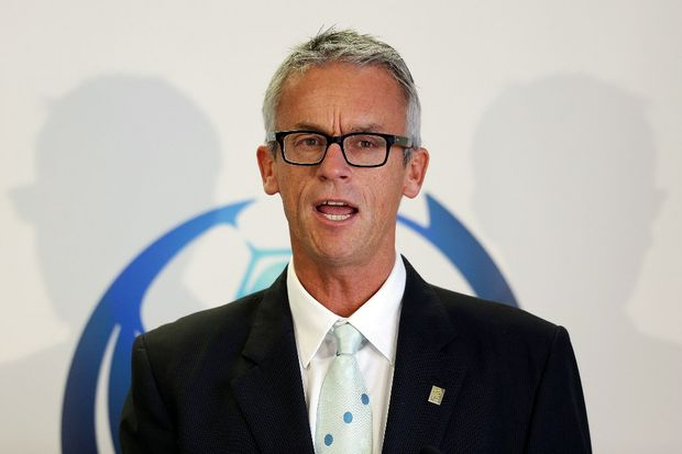 FFA CEO David Gallop addresses the media during a FFA press conference to unveil the National Premier League logo at on February 13, 2013 in Sydney, Australia.