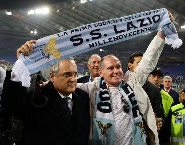 (L-R) S.S. Lazio president Claudio Lotito and former player Paul Gascoigne greet S.S. Lazio fans during the UEFA Europa League Group J match between S.S. Lazio and Tottenham Hotspur FC at Stadio Olimpico on November 22, 2012 in Rome, Italy.