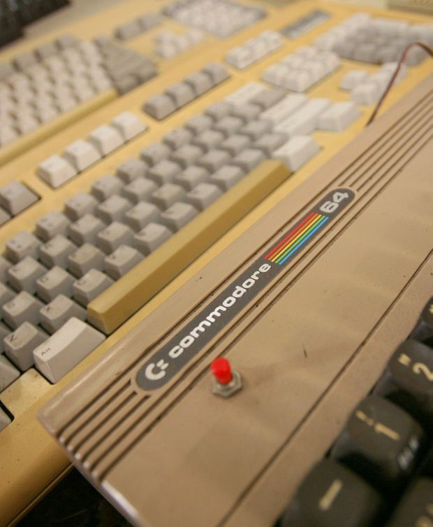Michael Eckardt's computer collection includes a number of old Commodore 64s from the early 1980s. Photo: Chris Ison / The Morning Bulletin