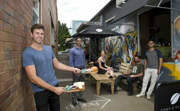 Ground Up Espresso Bar opened this week to rave reviews from Toowoomba coffee drinkers, much to the delight of staff including (front) Ryan Evans and (back, from left) Jeyan Chamanmah, Angela Knepscheld, Robert Johnson and Nathan Eshraghi.