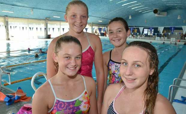 STATE SWIMMERS: Nanango Amateur Swimming Club's Clare Perrett, Sophie Stone, Shikira Matheson and Melissa Roberts competed at last weekend's Queensland Sprint Championships in Brisbane.