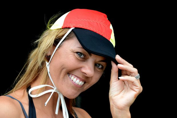 Nicole Bushnell wearing one of the visors she invented.