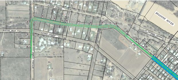 STAGE ONE ALIGNMENT: The $3.77 million St George levee will follow a 1.4-kilometre path from the Mitchell and Albert Street intersection to the Bowen and Victoria Street intersection.