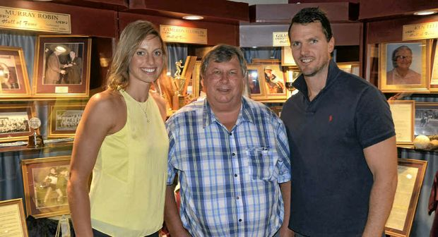 Laura Geitz, Perry Cronin and Laura's husband Mark Gilbride at the opening of the Allora Sports Museum.