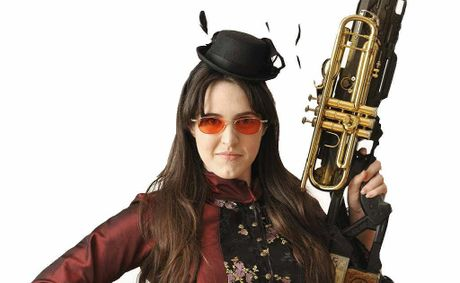 FUSION: Louise Geoghegan in costume ahead of the Ipswich Art Gallery Steampunk high tea on Saturday, March 2.