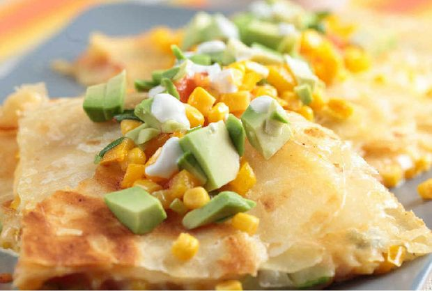 Spinach and cheese quesadilla.