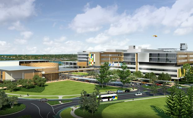 Artist's impression of the north-west aerial view of the Sunshine Coast University Hospital.