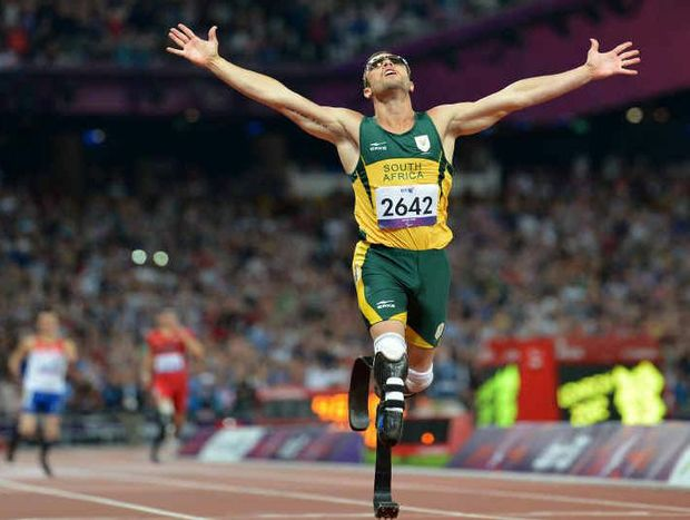 Oscar Pistorius crosses the line to win gold in the Paralympics 400m at London 2012.