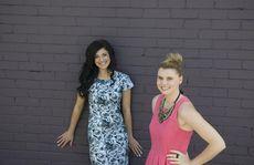 Model (left) Katanya Porter wears a Painted Lady dress by designer Vanessa Horne.