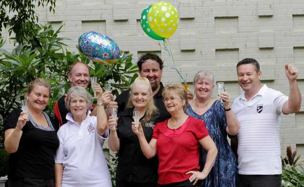 Maryborough CBD shop owners Julianne Sutcliffe, Kevin Vincent, Anne Proctor, Andrew and Allison Duggan, Lida Nielsen, Claudia Davidson and Darren Smith  are postive about their future.