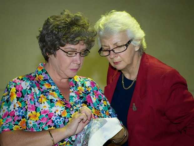 Helen Keogh as Sheila and Eve Wheeler as Bridie in the Murwillumbah Theatre Company's Production of The Shoehorn Sonata.
