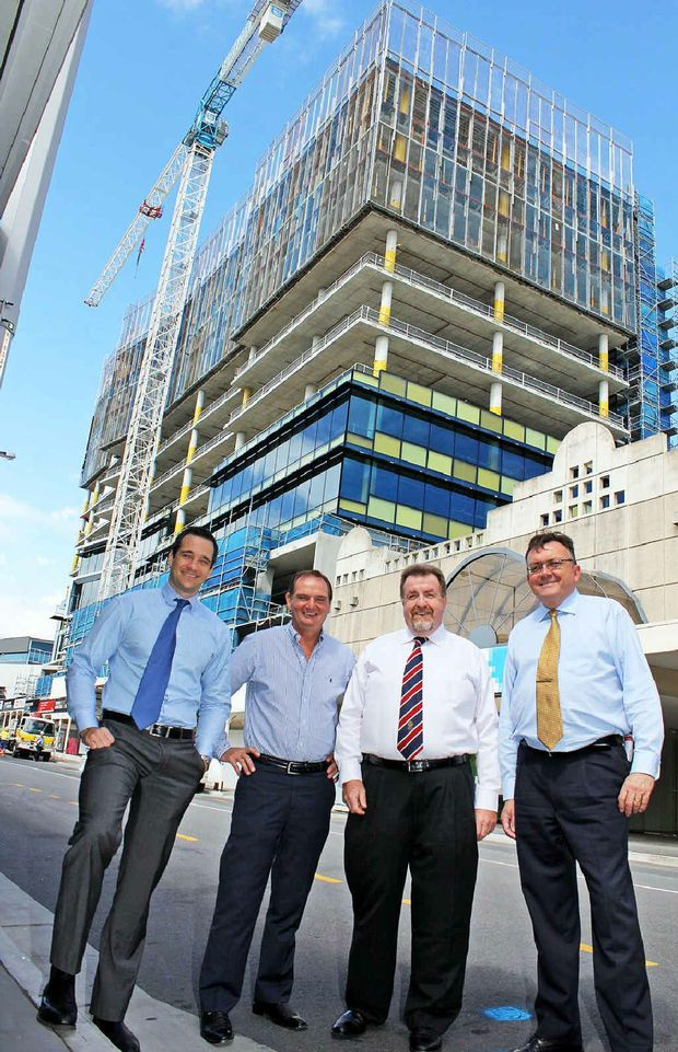 OPTIMISTIC AIR: Leighton Properties' Bradley Norris, Mayor Paul Pisasale, Cr Paul Tully and council's commercial asset manager, Steve Bannister-Tyrrell.