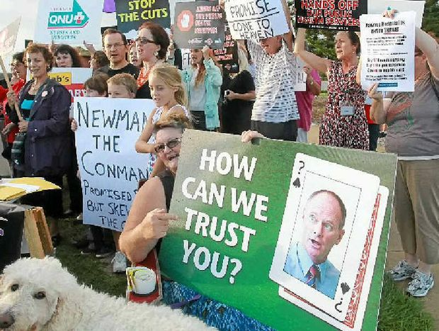 A crowd gathers at Wurtulla to protest against any move to privatise the Sunshine Coast University Hospital.