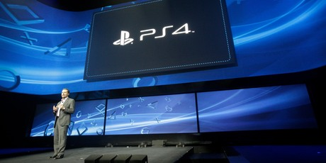 Andrew House announces the PlayStation 4 in New York City.