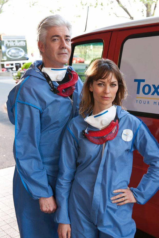 Shaun Micallef and Kat Stewart star in the TV series Mr and Mrs Murder.