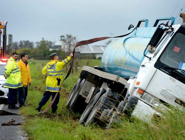 Truck rollover on Tweed valley way.