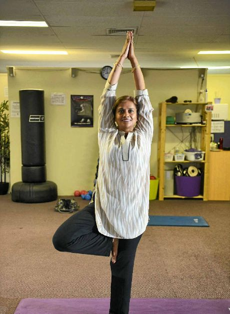 Yoga guru Pushpa Bakshi does the Natrajasan pose.