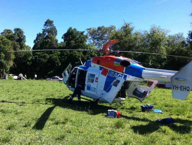 AGL Action Rescue Helicopter at scene of a fatal motorcycle crash at Goomboorian near Gympie.