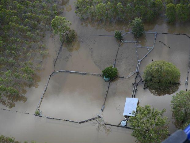 Flood aerials of Kungala on the Orara on Saturday afternoon. Photo Debrah Novak / The Daily Examiner