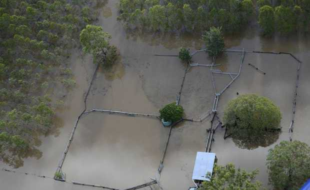 Flood aerials of Kungala on the Orara on Saturday afternoon. Photo Debrah Novak / The Daily Examiner