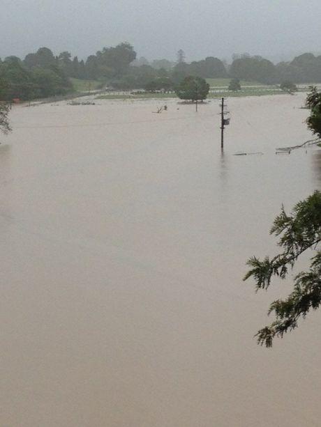 View of flood waters looking towards Dorrigo from Bellingen restaurant, Lodge 241. Photo: Contributed, Neil Gunning