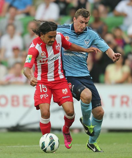 Sebastian Ryall of Sydney FC and David Williams of the Heart during the round 22 A-League match between the Melbourne Heart and Sydney FC at AAMI Park on February 24, 2013 in Melbourne, Australia.