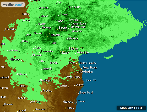 Weather radar for Sunshine Coast at 8pm on Monday night.