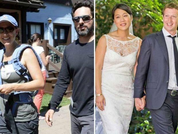 Google co-founder Sergey Brin and his wife Anne Wojcicki; Facebook founder Mark Zuckerberg and his wife Priscilla Chan