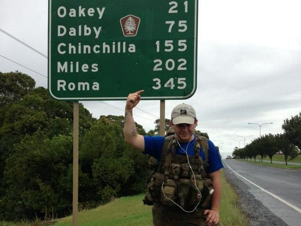 Nathanael Frawley marks the distance before he reaches his destination in Roma.
