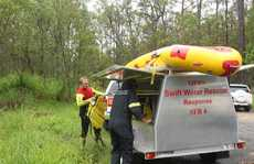 Swift Water Rescue crew after the missing woman was found.