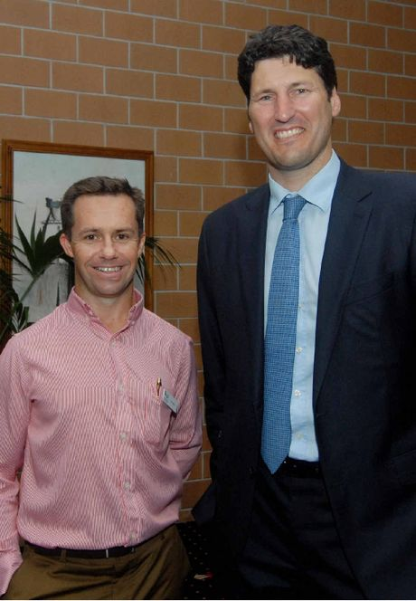 Mackay Region Chamber of Commerce chairman Tim Miles and speaker John Eales.